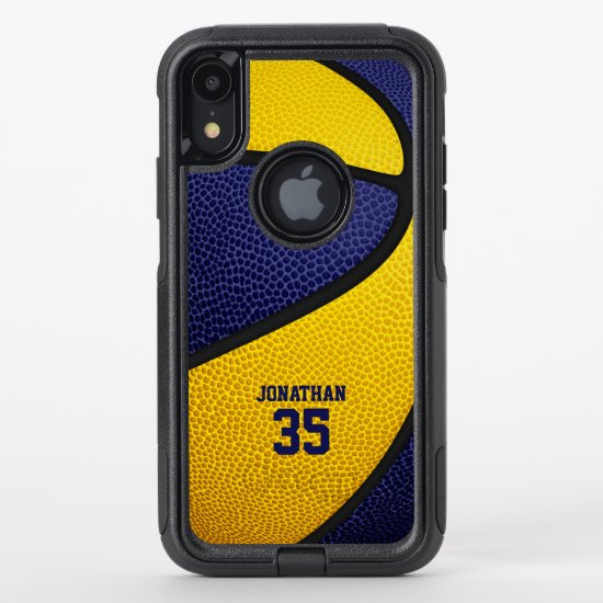 blue gold team colors personalized basketball OtterBox commuter iPhone XR case