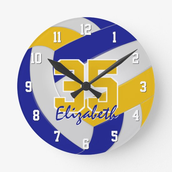 blue gold team colors personalized volleyball round clock