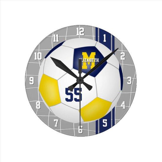 blue gold team colors varsity stripes soccer round clock