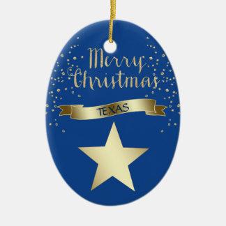 Blue Gold Texas Star Ceramic Ornament