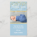 """Blue Gold THANK YOU Baby Shower BOY   PHOTO<br><div class=""""desc"""">Lovely baby shower thank you cards with your baby boy&#39;s photo. Blue and white with faux gold glitter and confetti.  Editable template cards - simply add your thank you text and name and picture.  Text font,  size,  color can be changed.  Contact designer for other variations. ENVELOPES INCLUDED</div>"""