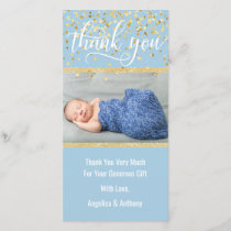 Blue Gold THANK YOU Baby Shower BOY | PHOTO