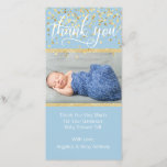 """Blue Gold THANK YOU Baby Shower BOY   PHOTO<br><div class=""""desc"""">Lovely baby shower thank you cards with your baby boy&#39;s photo. Blue and white with faux gold glitter and confetti.  Editable template cards - simply add your thank you text and name and picture.  Text font,  size,  color can be changed.  Contact designer for other variations.</div>"""