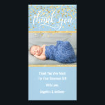 """Blue Gold THANK YOU Baby Shower BOY   PHOTO Card<br><div class=""""desc"""">Lovely baby shower thank you cards with your baby boy&#39;s photo. Blue and white with faux gold glitter and confetti.  Editable template cards - simply add your thank you text and name and picture.  Text font,  size,  color can be changed.  Contact designer for other variations.</div>"""