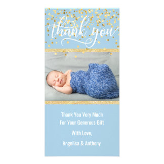 Blue Gold THANK YOU Baby Shower BOY | PHOTO Card