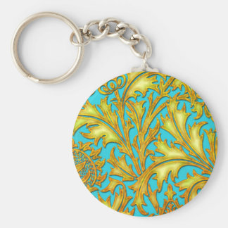 Blue Gold Thistle Keychain