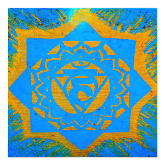 blue gold tibetan tantric design card