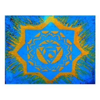 blue gold tibetan tantric design postcard