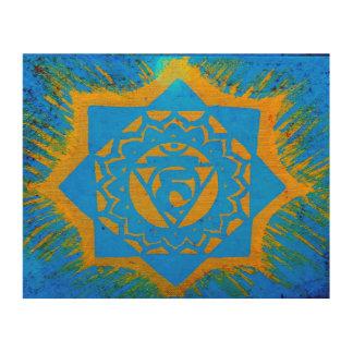 blue gold tibetan tantric symbol wood wall art
