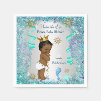 Blue Gold Under The Sea Prince Baby Shower Ethnic Paper Napkin