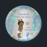 "Blue Gold Under The Sea Prince Baby Shower Ethnic Paper Plate<br><div class=""desc"">Blue Gold Under The Sea Prince Baby Shower. Teal Blue White Silver, Sweet Boy with Seahorse and Starfish Baby Shower Party Invitation. Ethnic African American Baby Shower. Vintage Boy Baby Shower. Elegant Bling Glitter pearls and jewel under the sea ocean design. Please note: All flat images, They do not have...</div>"
