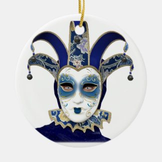 Blue Gold Venetian Carnivale Mask Ceramic Ornament