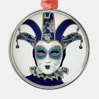 Blue Gold Venetian Carnivale Mask Metal Ornament