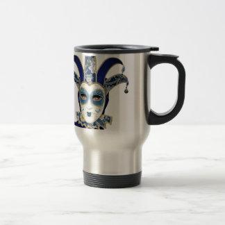 Blue Gold Venetian Carnivale Mask Travel Mug