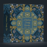 """Blue Gold Vintage Antique Family Tree Album Binder<br><div class=""""desc"""">Blue and gold family tree,  photo album with a vintage Victorian pattern to enhance the antique background will easily become a family heirloom.  Customize with your family name then store your collection of ancestor photos and important family documents to binder this elegant personalized binder.</div>"""