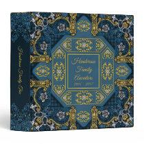 Blue Gold Vintage Antique Family Tree Album Binder