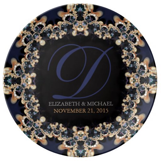Blue Gold : Vintage Gems Wedding Anniversary Gift Plate