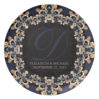 Blue Gold : Vintage Gems Wedding Gift Plate