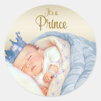 Blue Gold Vintage Prince Baby Shower Classic Round Sticker