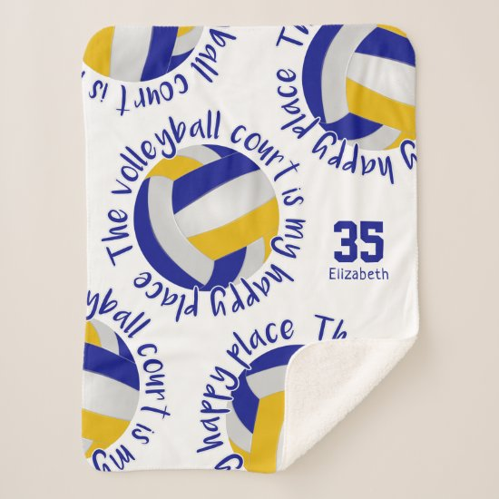 blue gold volleyball court happy place typography sherpa blanket
