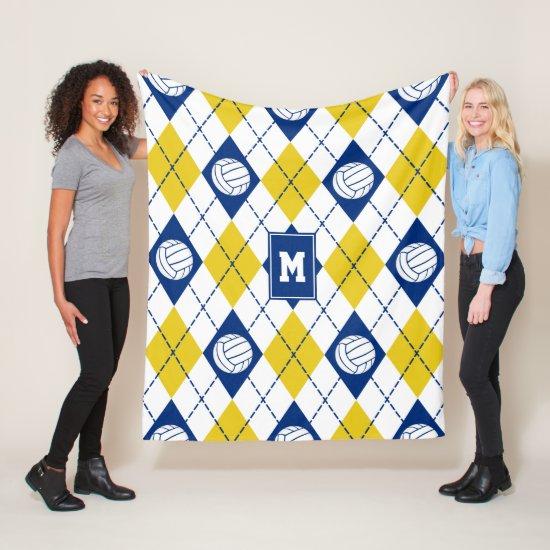 blue gold volleyball team colors argyle pattern fleece blanket
