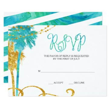 Beach Themed Blue Gold Watercolor Beach Bat Mitzvah RSVP Card