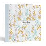 Blue & Gold Watercolor Leaf Personalized Binder