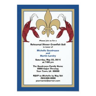 Blue Gold Wedding Event Crawfish Boil Card