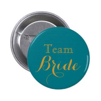 Blue Gold Wedding Team Bride Button