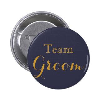 Blue Gold Wedding Team Groom Button