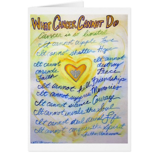 Blue & Gold What Cancer Cannot Do Greeting Card