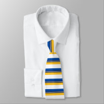 Blue Gold White and Black Horizontally-Striped Tie