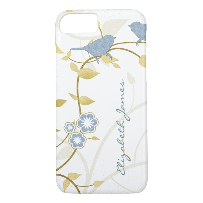 Blue Gold White Birds Floral Personalized iPhone 7 Case