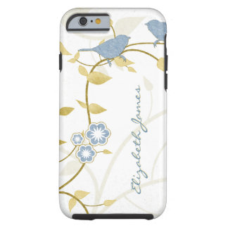Blue Gold White Birds Floral Personalized Tough iPhone 6 Case