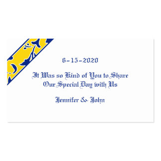 Blue, Gold, & White, Damask Wedding Favor Double-Sided Standard Business Cards (Pack Of 100)