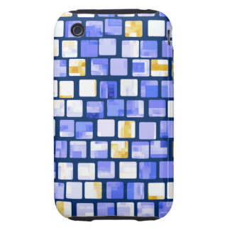 Blue Gold White Mosaic Pattern Tough iPhone 3 Cover