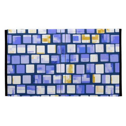 Blue Gold White Mosaic Pattern iPad Folio Case