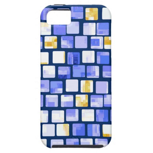 Blue Gold White Mosaic Pattern iPhone 5 Covers