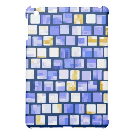 Blue Gold White Mosaic Pern iPad Mini Covers