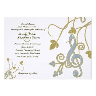 Blue Gold White Music Wedding Invitation