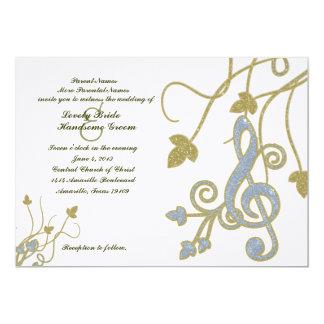 "Blue Gold White Music Wedding Invitation 5"" X 7"" Invitation Card"