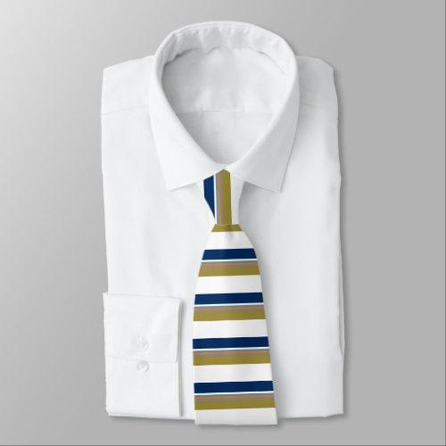 Blue Gold White Orange & Silver Striped Tie