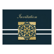 blue and gold snowflakes winter wedding invites by mgdezigns