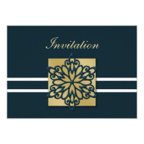 blue gold winter wedding Invitation cards