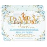Blue Gold Woodland Boy Baby Shower Forest Animals Invitation