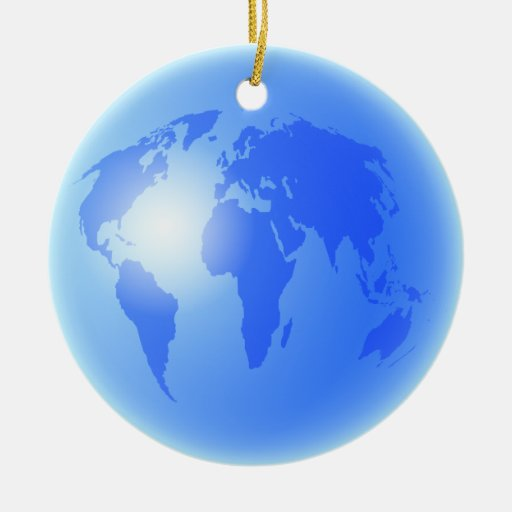 Blue gold world globe double sided ceramic round for Christmas tree with gold and blue ornaments