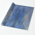 Blue Golden Circles  Wrapping Paper