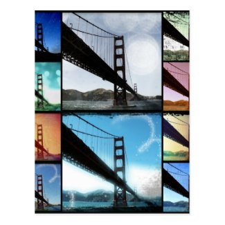 Blue Golden Gate Bridge Photo Collage Postcard