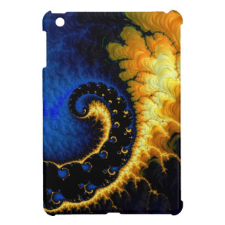 Blue Golden Yellow Fractal Cover For The iPad Mini