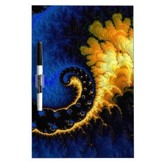 Blue Golden Yellow Fractal Dry Erase Board